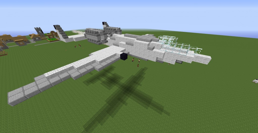 This was the plane created. If you place the plane box on the ground and tap it the plane will automatically build in the air.
